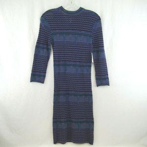 Free People Crochet Knit Sweater Dress Teal Jewel